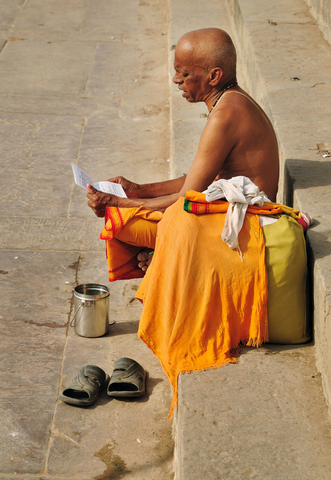 Hindu man chanting a mantra