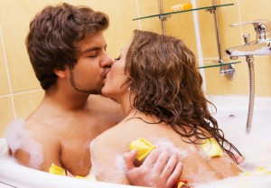 Couple bathing together
